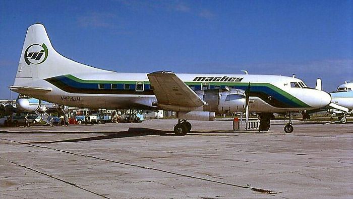 Convair 440 N444JM sports yet another variation of the Charter/Mackey paint scheme.