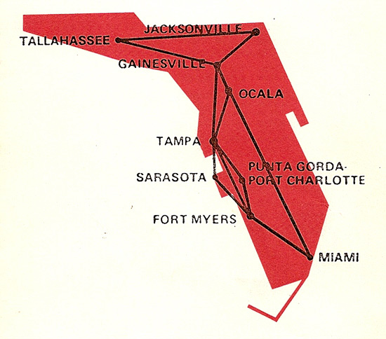 Florida Air Lines route map from September 1, 1974.