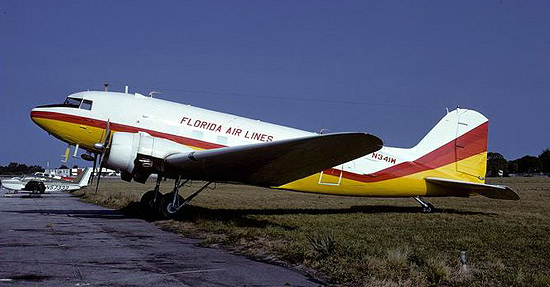 Florida Air Lines DC-3 N341W (msn 13041) at the Sarasota base in 1975.