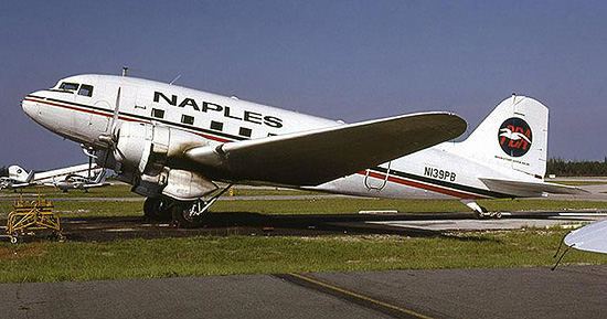 Naples Douglas DC-3 N139PB in the revised PBA color scheme, resting at Naples, Florida in 1979.
