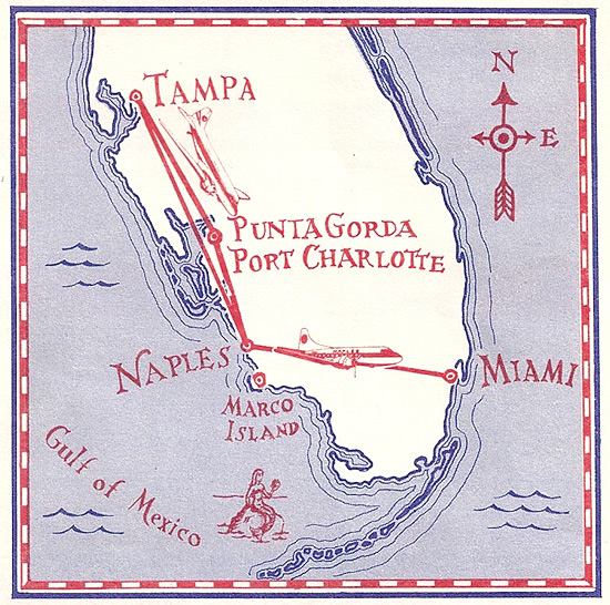 Naples Airlines route map from December 22, 1977.