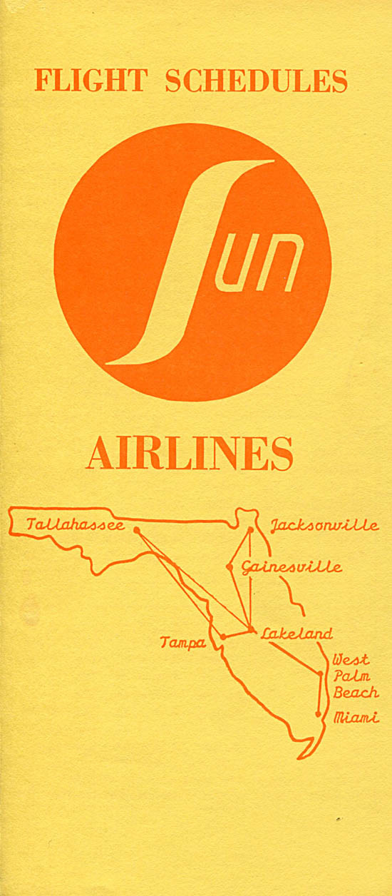 Sun Airlines timetable from 1972.