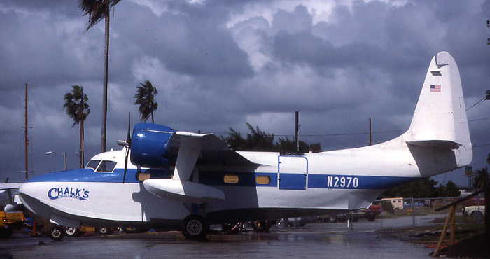 Chalk's International Mallard N2870 at Watson Island, wearing the blue and white color scheme of the late 1970s.