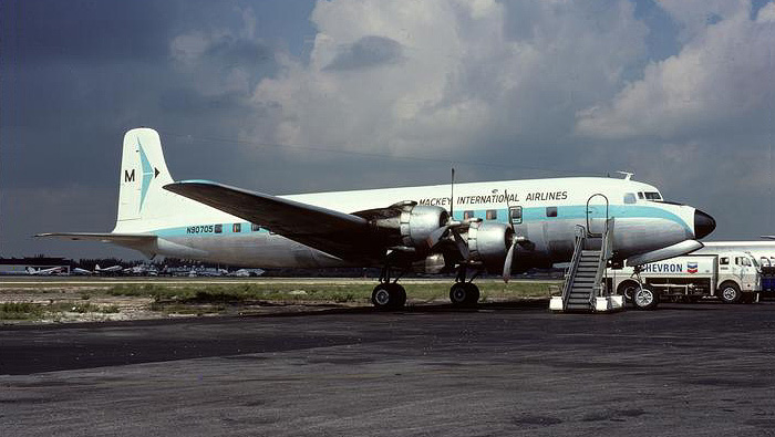Mackey International was one of the last airlines in the continental U.S. to operate Douglas DC-6s in passenger service. N90705 (msn 42858) is seen here in 1974.