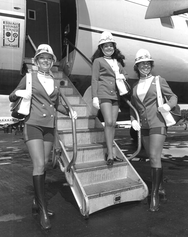 Mackey stewardesses modeling the latest uniforms at Fort Lauderdale in 1972. This photo comes from the State Archives of Florida photographic collection.