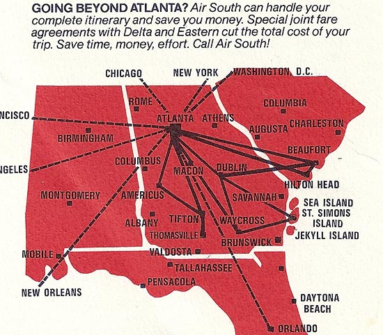 Air South route map from February 15, 1974 showing service to numerous small towns that no longer receive air service .
