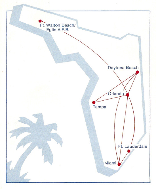 National Florida Airlines route map from June 15, 1983.