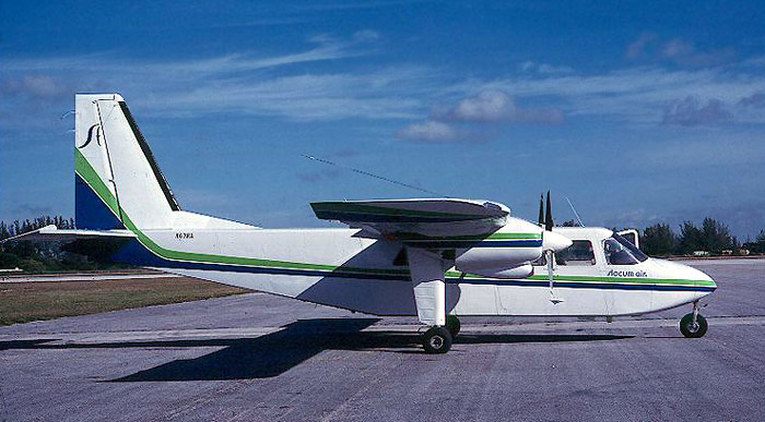 Slocum Airlines  Britten Norman BN-2 Islander N67HA in the blue and green of Air Florida.