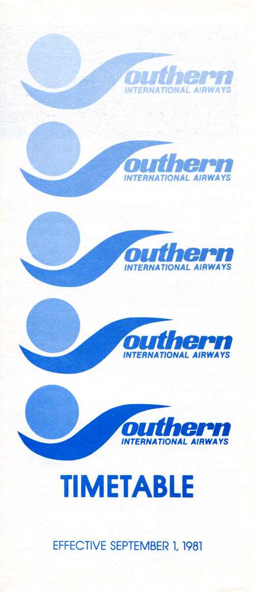 Southern International Airlines timetable September 1, 1981