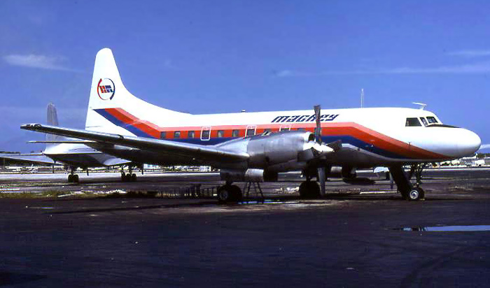 Mackey merged with Charter Airlines in 1979 and inherited a pair of turboprop Convair 580s as well as a Piper Navajo. This shot of N900WC, taken shortly after the merger, shows the aircraft in Charter colors with