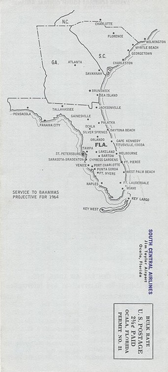 South Central Airlines map from 1963.
