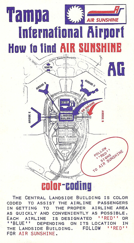 Air Sunshine issued map of Tampa Airport, circa 1974.