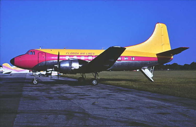 When Shawnee Airlines shut down in 1977, three of their hot-pink-and-yellow Martin 404s went to Florida Air Lines.