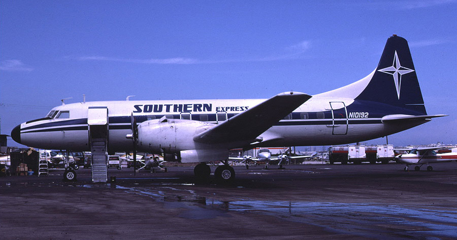 Convair 440 N10192 (msn 494) was built in 1958 and was operated by Southern Express for a short time during 1985.