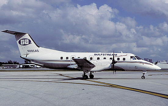 Embraer Brasilia N285AS shown in the standard Gulfstream colors.