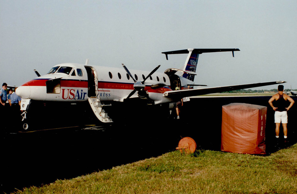Florida Gulf / Mesa Airlines Beechcraft 1900 in USAir Express colors at Vero Beach circa 1992-1993. Photo courtesy of Todd Scher.