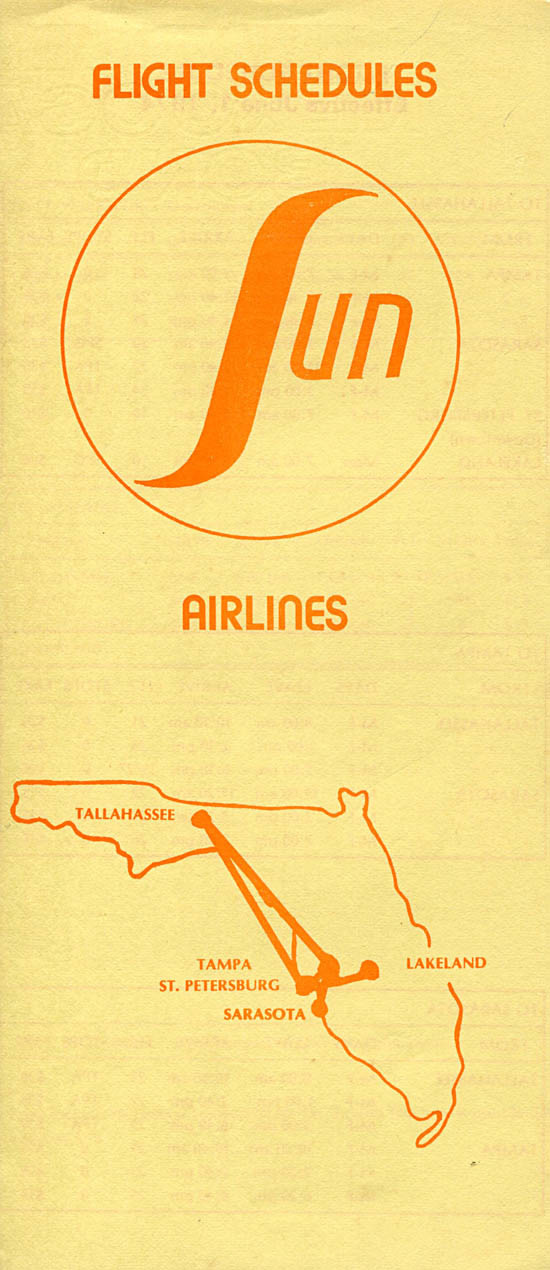 Sun Airlines timetable from 1974.