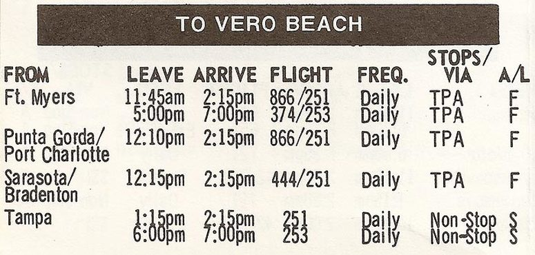 In early 1976, Shawnee Airlines / Florida Airlines opened a route between Vero Beach and Tampa. This excerpt from the March 1, 1976 timetable shows 2 daily flights which were operated with a combination of DC-3s and Cessna 402s. Shawnee's service to Vero Beach was discontinued a few months later, leaving the airport without scheduled airline service for the next two and a half years.