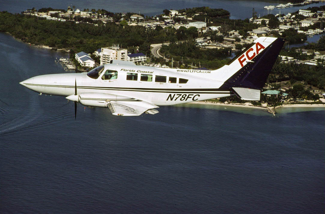 Florida Coastal Cessna 402 N78FC over the Florida Keys.