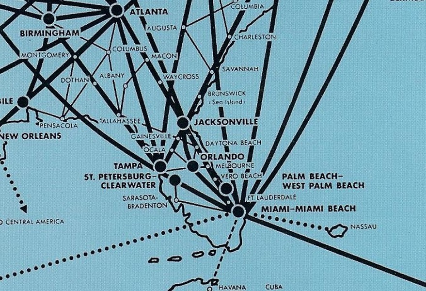 This detail of an Eastern Air Lines route map from 1961 shows Vero Beach as one of many intermediate stops between Miami and Jacksonville. Eastern continued to serve the airport through 1972.
