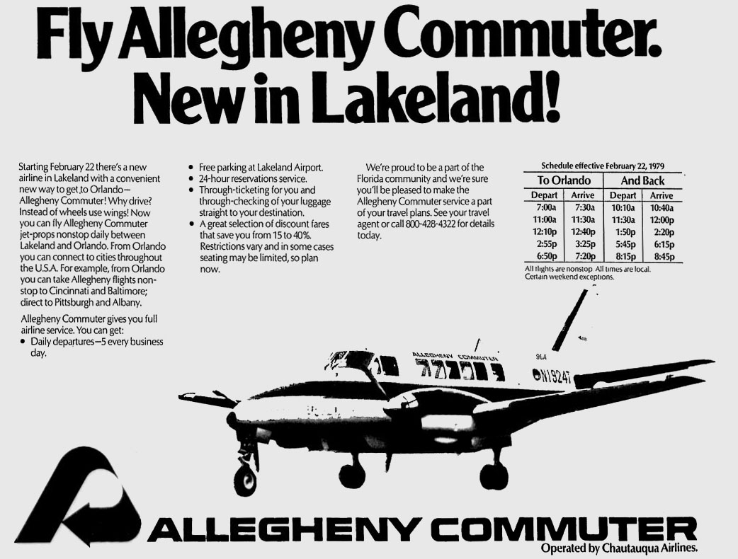 Allegheny Commuter airlines to Lakeland, Florida