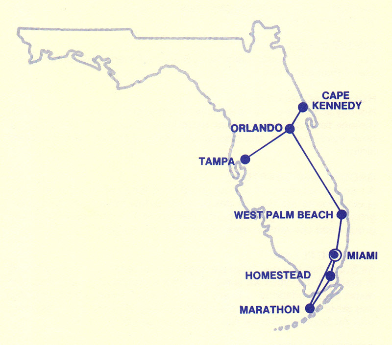 Air South route map from February 9, 1987.