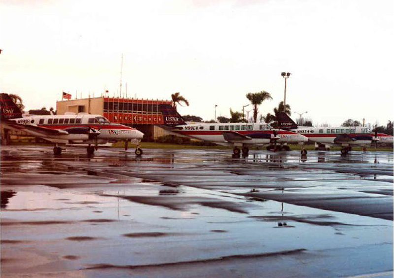 Chautauqua's Beech 99s, in USAir Express colors, pictured at Vero Beach, Florida, circa 1989-90.