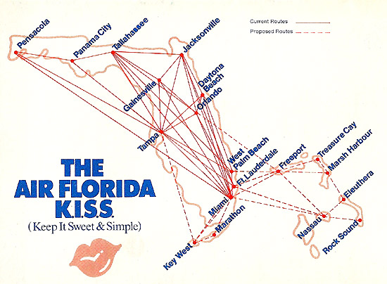 Air Florida route map from September 1, 1978.