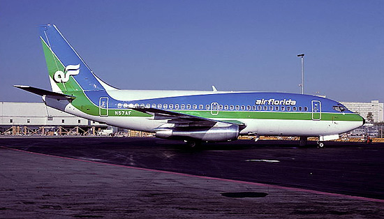 Boeing 737s became the primary aircraft type in 1979. N57AF is pictured at Miami in the classic blue-and-green color scheme.