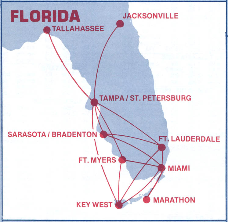 Southern Express route map from 1985.