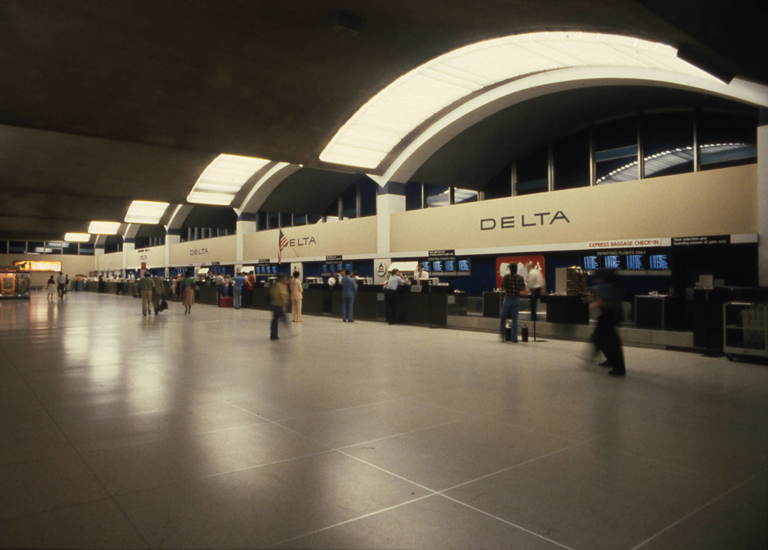 Delta Airlines ticket counters at Atlanta Hartsfield Airport in 1980.