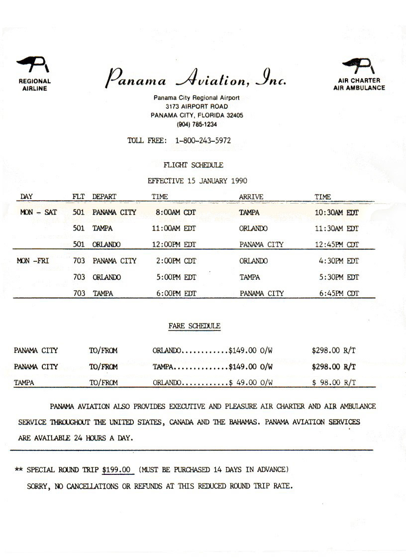 Panama Aviation timetable effective January 15, 1990.