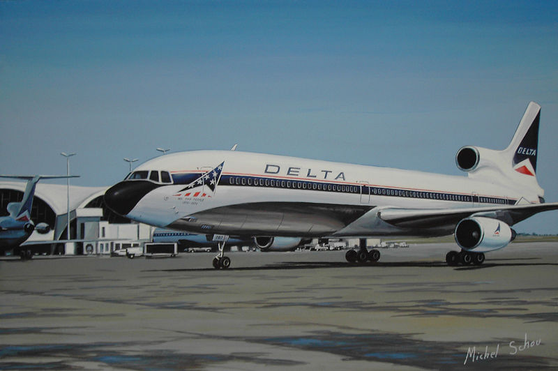 Delta Lockheed L-1011 in Bicentennial colors at Atlanta. Painting by Michel Schou.