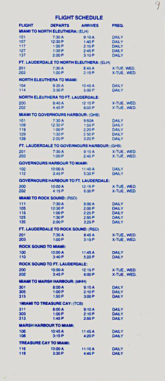 Pro Air timetable.