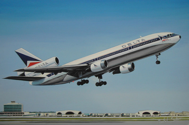Delta DC-10 at Atlanta. Painting by Michel Schou.