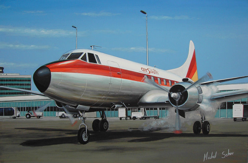 Air South Martin 404 at Atlanta. Painting by Michel Schou.