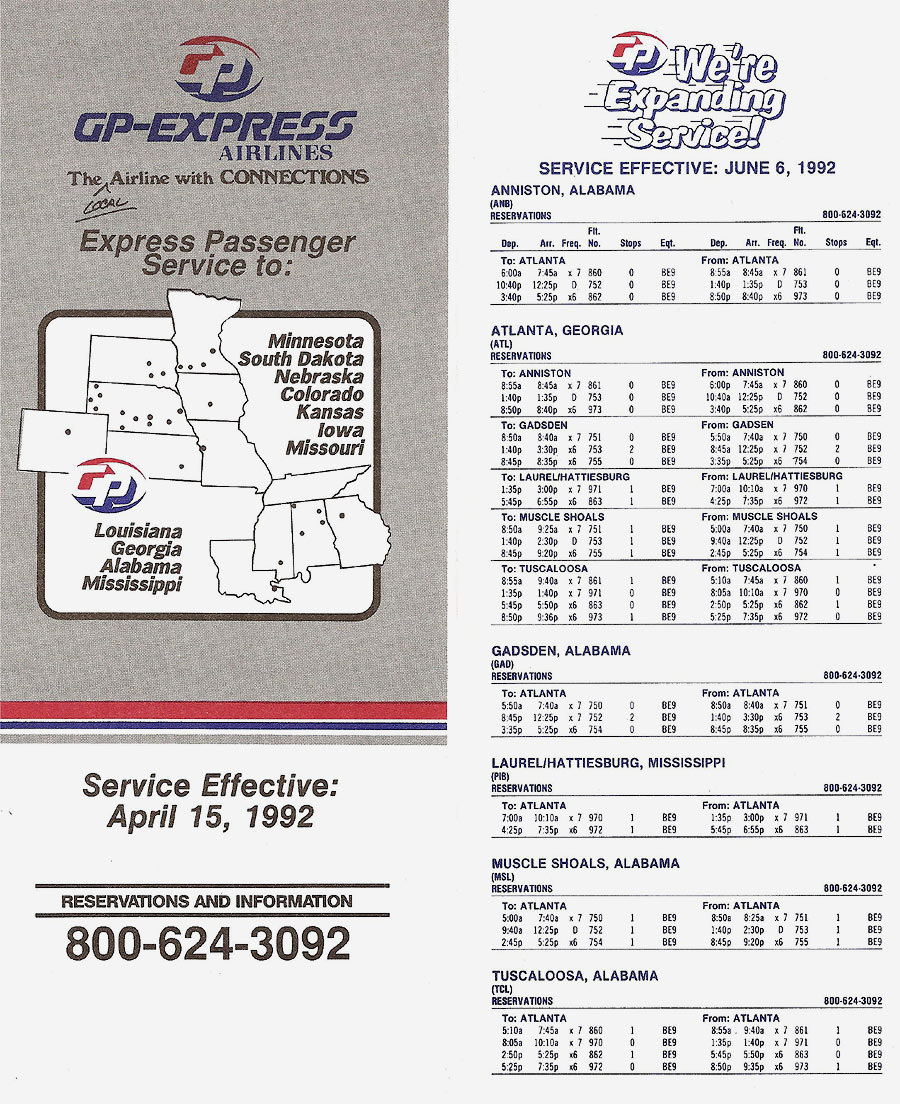 GP Express timetable dated June 6, 1992.
