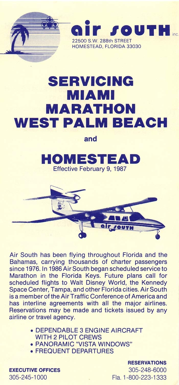 Air South timetable from Feb 9, 1987.