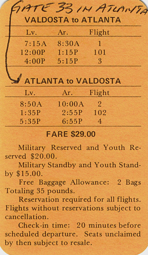 Valdosta Phoenix flight schedules, circa 1972-1973.
