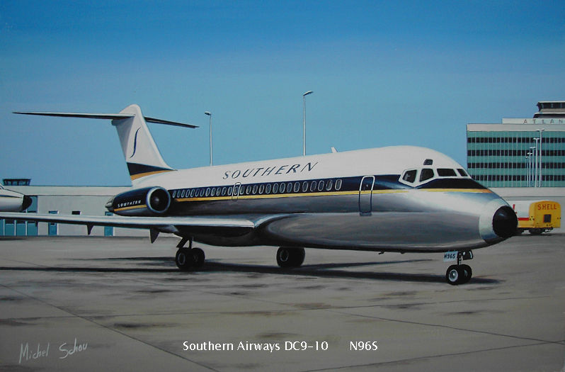 Southern Airways DC-9 at Atlanta. Painting by Michel Schou.