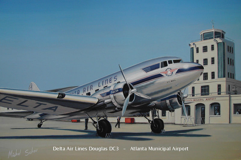 Delta DC-3 at Atlanta. Painting by Michel Schou.