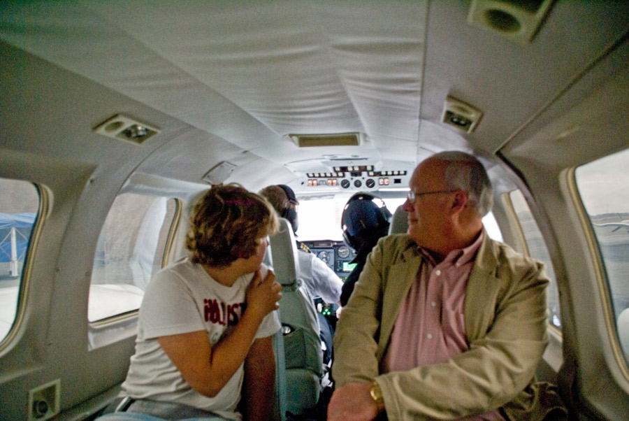 The interior of Wings Air Piper Navajo during the 99 cent fare promotion between Macon and Atlanta in January 2009.