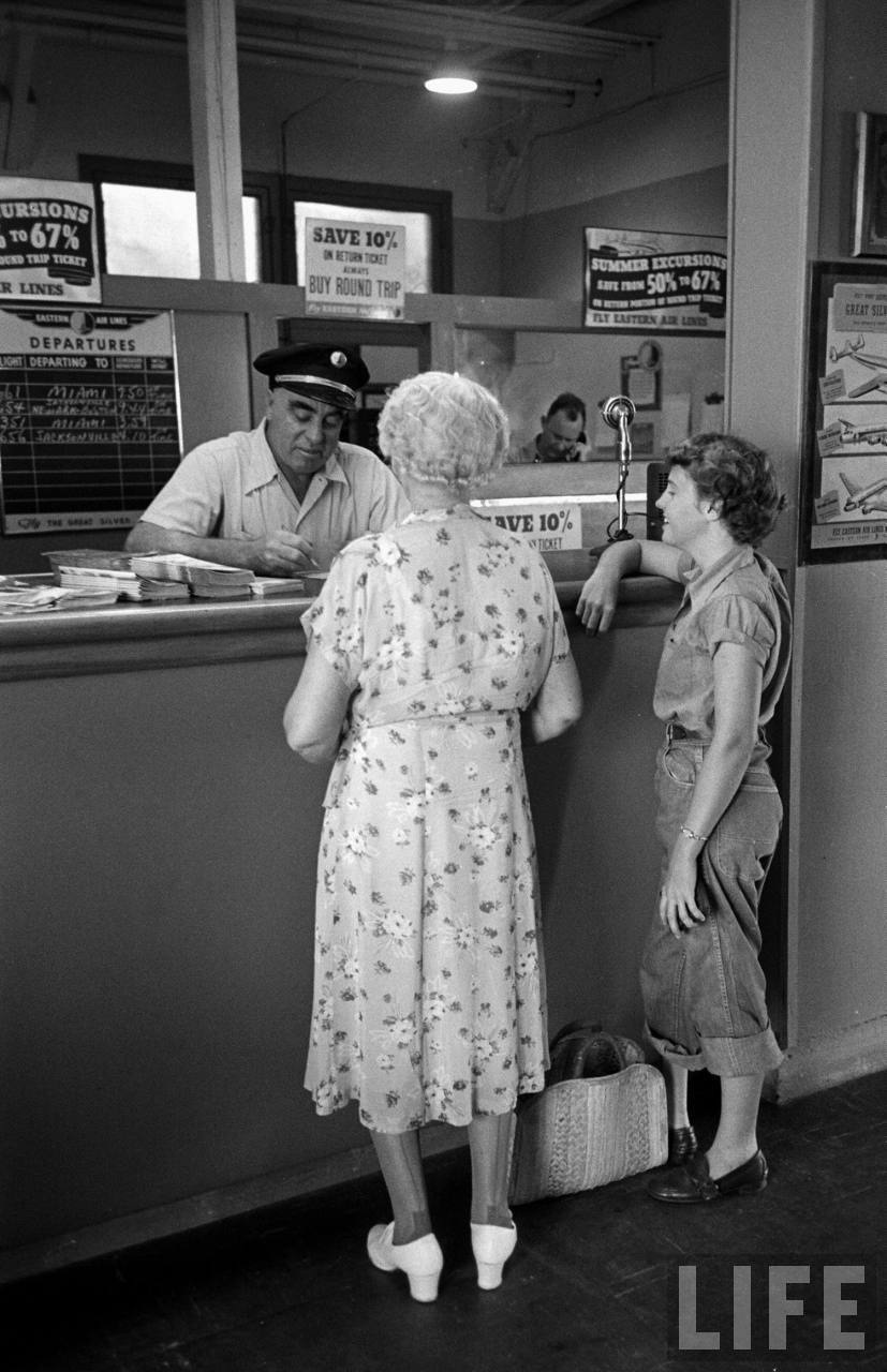Ticket counter at Vero Beach, Florida in 1949.