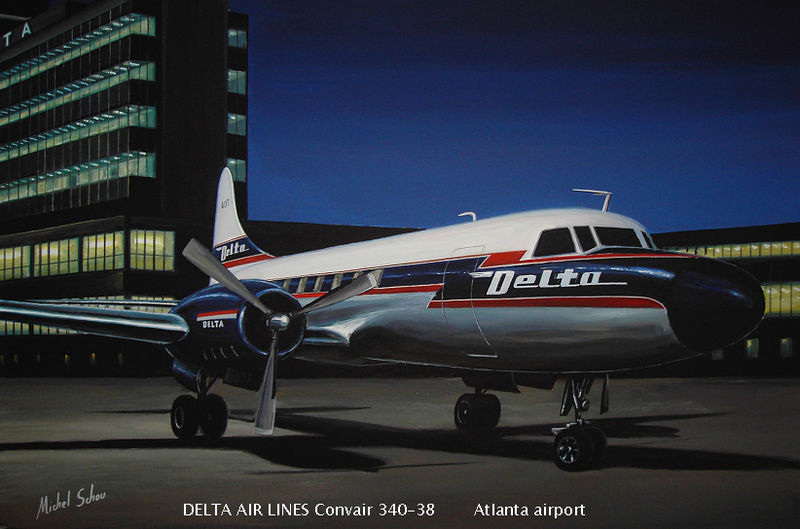 Delta Convair 340 at Atlanta. Painting by Michel Schou.