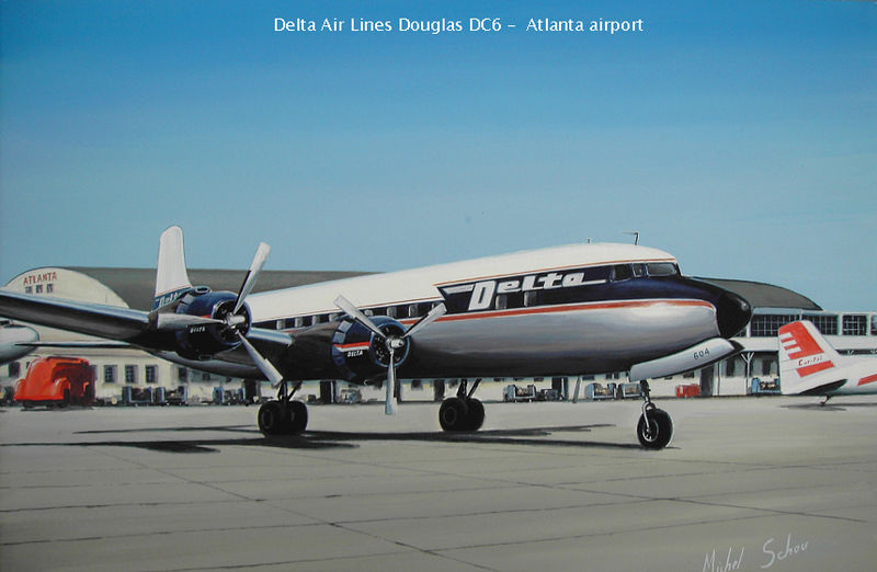 Delta DC-6 at Atlanta. Painting by Michel Schou.