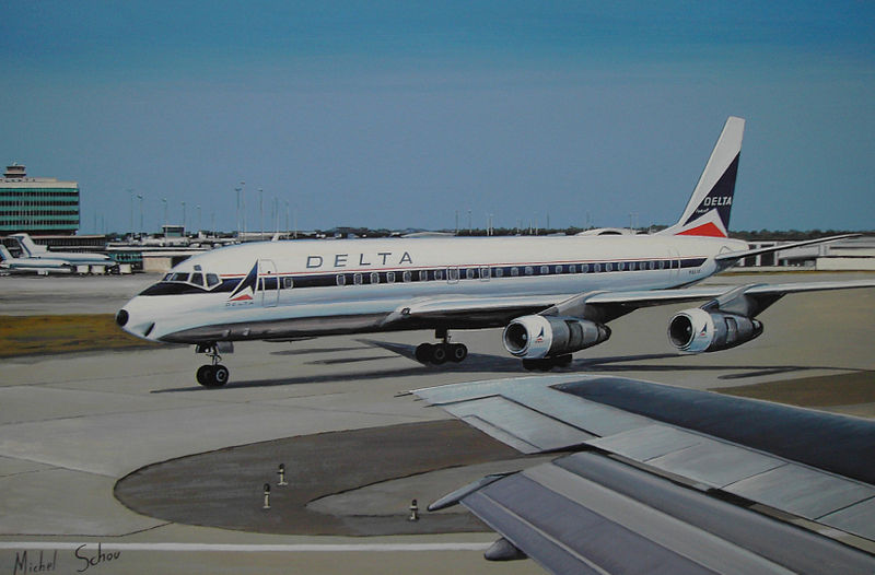 Delta DC-8  at Atlanta. Painting by Michel Schou.