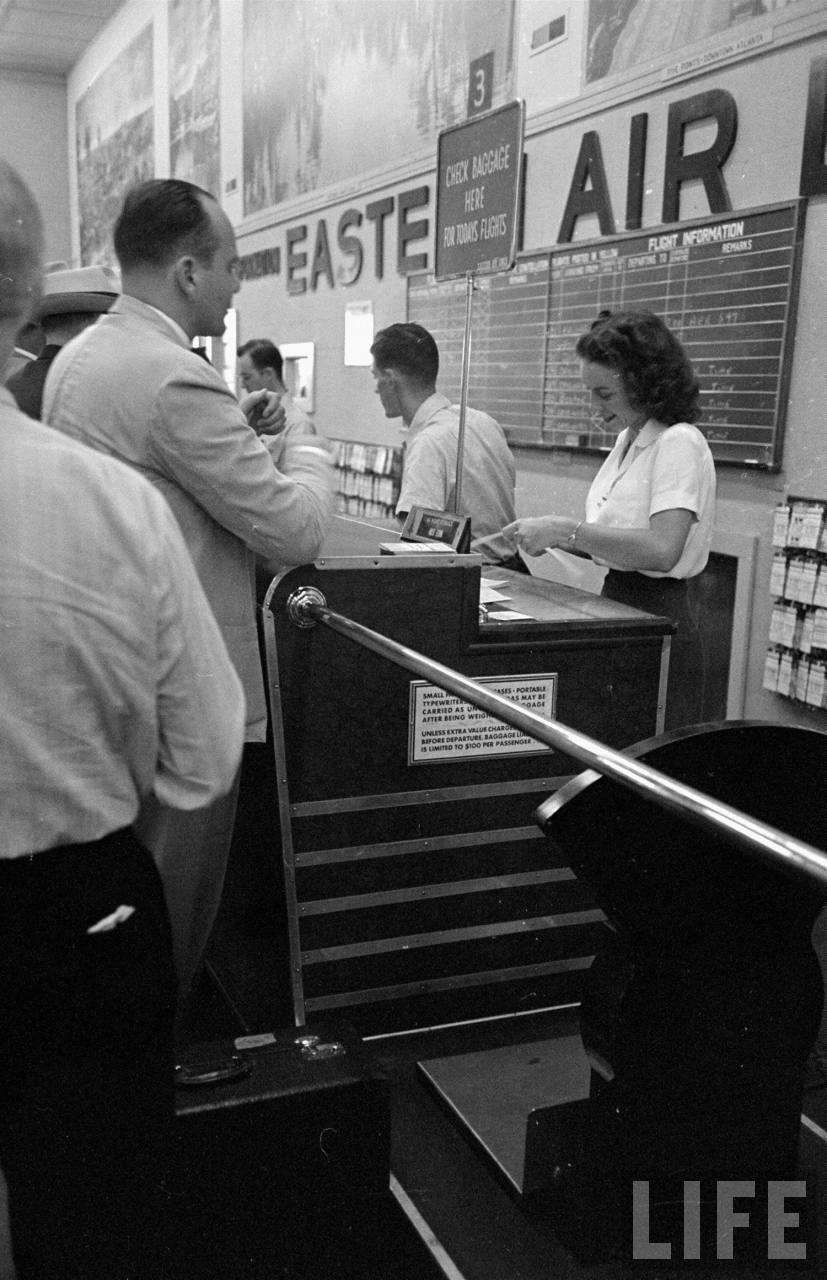 Eastern Airlines ticket counter at Atlanta in 1949.