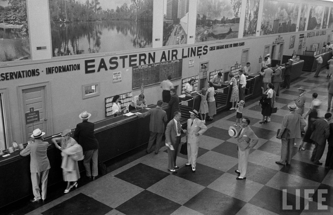 Ticket counter at Atlanta's temporary terminal in 1949.