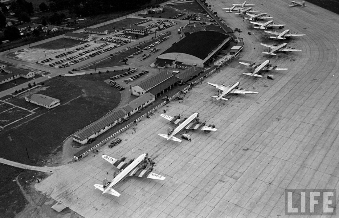Delta, Capital and Eastern aircraft at Atlanta airport in 1949.