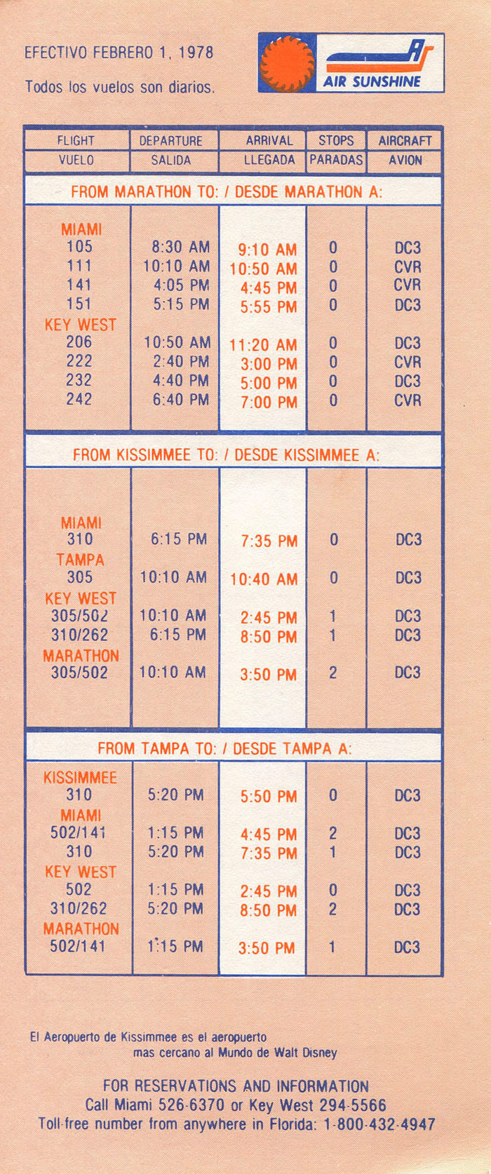Air Sunshine timetable 1978